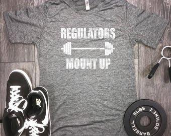 Regulators mount up mens workout shirt, mens gym shirt, gangster rap workout shirt, barbell workout shirt, rap lyrics shirt, regulators tee