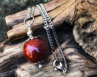 Witches Ball Necklace, Blood Moon Crystal Ball Necklace, Pagan Scrying Pendulum Necklace, Blood Moon Witches Ball, Divination Tool Necklace