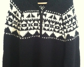Ralph Lauren Tribal Hand Knit Sweater Cardigan Cowhican Black Vintage Aztec Indian Blanket Southwest Wool Cardigan Zip front Sweater XL