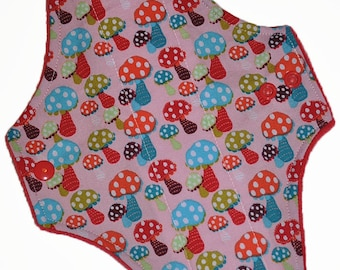 Moderate Core- Polka Dot Shrooms Reusable Cloth Maxi Pad- WindPro Fleece- 10 Inches (25.5 cm)