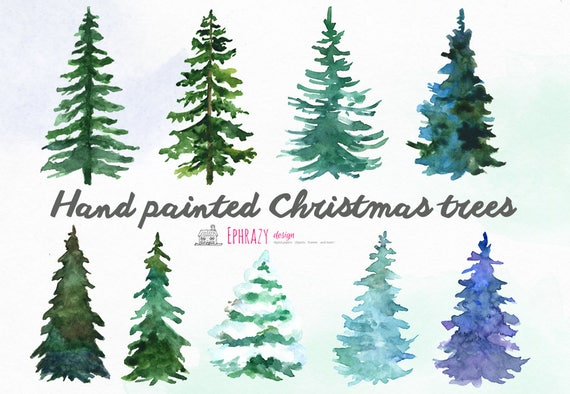 Christmas Clipart. Christmas Trees Clipart. Watercolor