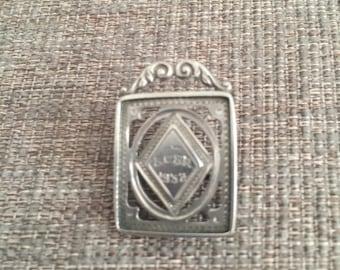 Art Deco Silver Portrait Frame Pin/Brooch - 1932