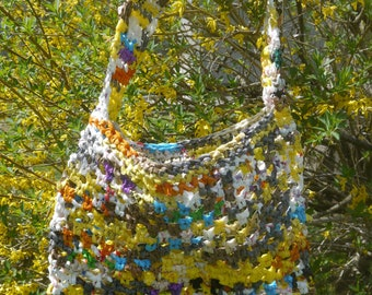 rainbow upcycled plastic plarn shopping bag / market tote / beach bag / etc! +donation to ocean conservancy <3