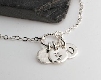 Silver Initial Bracelet, 3 charm Bracelet, Minimalist Jewelry, Stackable Bracelet, Dainty Bracelet, Silver Jewelry, Layered Bracelet