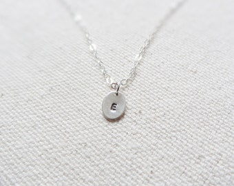tiny oval monogram - sterling silver initial necklace - gift for her -  simple jewelry - layer - mothers day gift - minimal