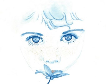 """Fine Art Giclee Watercolor Print """"Freckles"""""""
