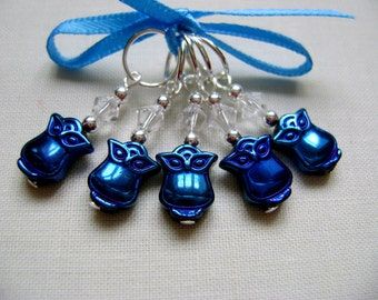 Little Hematite Owl Stitch Markers for Knitting or Crochet