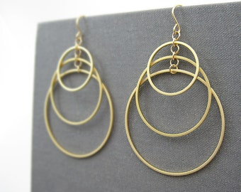Gold Multi Hoop Earrings - Triple Circle Earrings, art deco wedding, architectural jewelry - Tiered