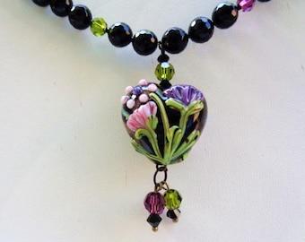 Artisan Lampwork Floral Heart Pendant Onyx Glass Beads Swarovski Crystals