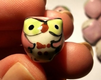 SALE Owl Beads Pink Green 11pcs Animal Supplies, Porcelain Beads, Free Shipping, Pink Owls, Hand Painted
