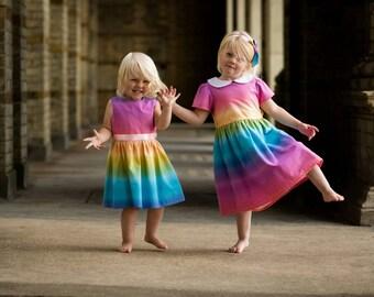 girls dresses, girls party dresses, little girls dress, rainbow wedding, rainbow dress, Party dress, girls party dress, kids party dress,
