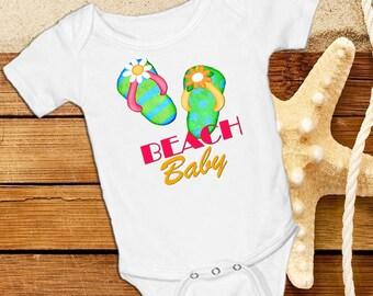 BEACH BABY  Flip Flops on a White onsie Snap bottom all in one bodysuit