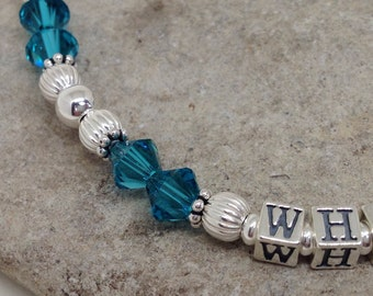 Gift for Wife, Mother's Day Gift, Personalized, Name Bracelet, Beaded, Sterling Silver, Swarovski Crystal, Birthstones, Gift for Women