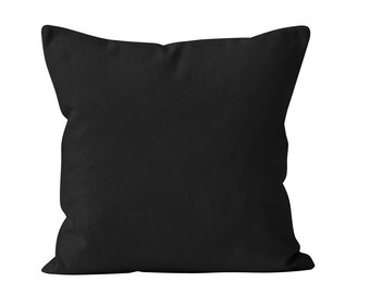 Black Pillow Cover, Solid Black Pillow Cover, Black Toss Pillow Cover, Black Cushion Cover, Black Couch Throw Pillow Cover 18x18 _M