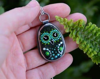 Black Pebble Pendant, Painted Stone Necklace in Sterling Silver, Owl, Dot Art, Handmade Necklace, Beach Pebble, Mediterranean Sea Pebble