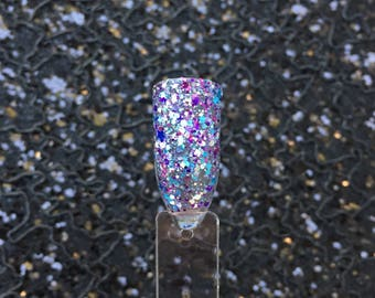 Celestial - Teal, Purple, and Silver Holographic Nail Polish Top Coat