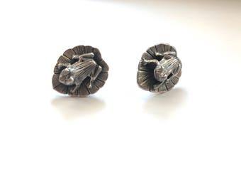 Vintage 3D Sterling Silver Frog on Lily Pad Stud Post Pierced Earrings