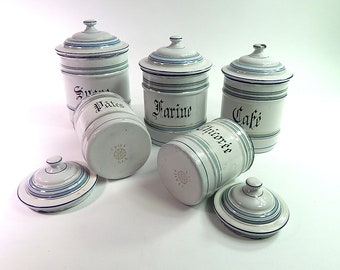 5 French Vintage Enamelware Canisters Complete Set with Lids Duck Egg Blue and White