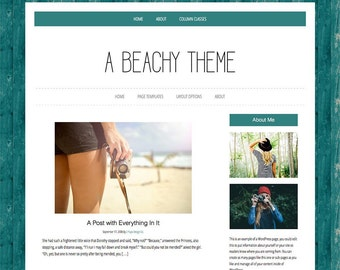 Beachy Wordpress Template, Teal, Wordpress, Theme, Website Template, Genesis Child Theme
