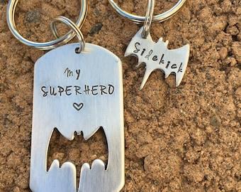 Batman and sidekick batman hand stamped keychain couples keychains father son gift superhero keychain fathers day gift hand stamped dad