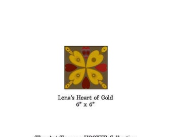 """Lena's Heart of Gold ~ 6"""" x 6"""" Paper Pattern for PUNCH NEEDLE by The Art Tramp/HOOKER Collection"""