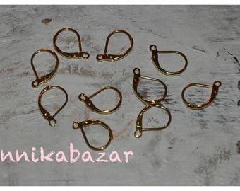 5 pairs of stud earrings in brass, 15 mm long, 10 mm wide, 1 mm hole