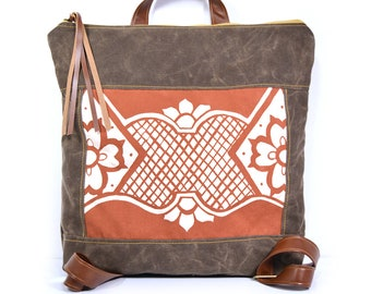 waxed canvas backpack • brown waxed canvas backpack • handprinted geometric floral - simple light weight backpack - waxed canvas backpack