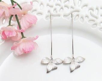 Mother's Day Gift, Long Earrings, Flower Orchid Earrings, Dangle Earrings, Mom Gift, Bridesmaid Earrings, Flower Earrings