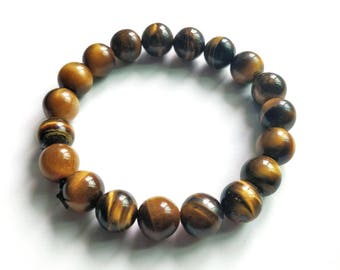 Handmade Natural Tiger's Eye Gemstone Bracelet