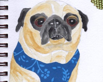 "Pug Print - Sketchbook Series - Watercolor & Collage - ""Flapdoodle"""