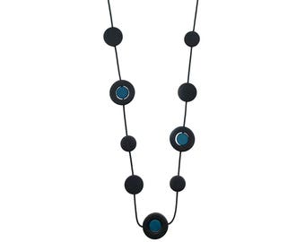 teal and black long necklace, modern resin beads, geometric jewelry by FrankIdeas, made in Australia