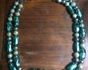 Vintage Italy Green Foil Bead Double Strand Necklace