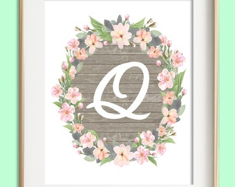 Letter Q Printable, Instant Download, Baby Girl Nursery Wall Art, Girl Nursery Decor, Floral Monogram, Pink Mint Gray Letter Art, Baby Gift
