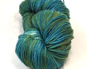 Superwash Merino Sock Wool  Yarn  Hand Dyed  Wool And Nylon Yarn  Multi Colored Variegated Blue Green Merino Sock Yarn
