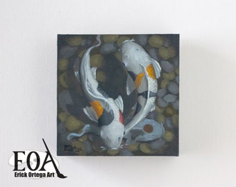 "Koi oil painting original 6""X6"""