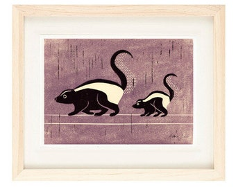 SKUNKS Poster Size Linocut Reproduction Art Print: 8 x 10, 9 x 12, 11 x 14, 12 x 16