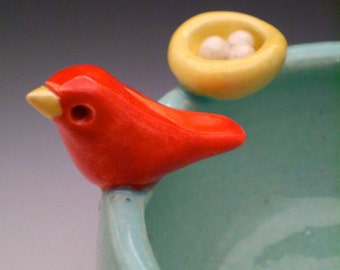 Sweet Little Red Bird on Aqua Bowl with Nest