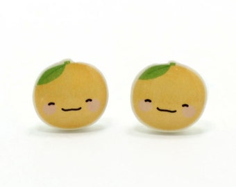 Happy Orange Earrings | Sterling Silver Posts Studs | Gifts For Her