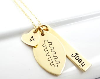 Football Mom Girlfriend NuGold Necklace Personalized with Name and Number