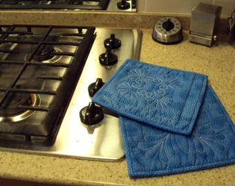 Quilted Pair of Medium Blue Potholders or Hot Pads
