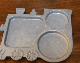 Vintage Pewter Childs Plate in shape of a train