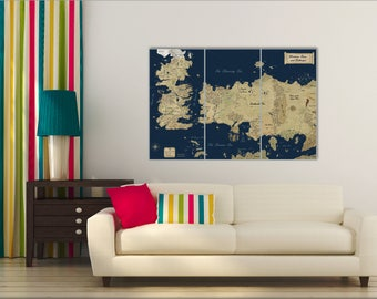 Game of Thrones, Game of Thrones map, Game of thrones gift, Game of thrones poster, Old Map Canvas, Art Seven Kingdoms, Map Westeros