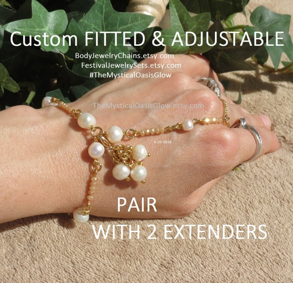 cluster Crystal adjustable Barefoot w hand slave bracelets pearl Custom pair wedding for bracelets Pearl Champagne extenders Sandals fitted zU6fWrUa