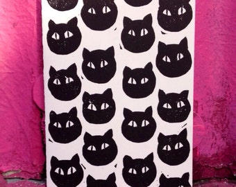 Black Cat Block Print Card