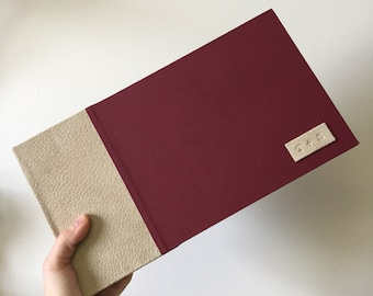 Instant Photo Guest Book in Taupe Suede and Burgundy Book Cloth for Weddings and Events