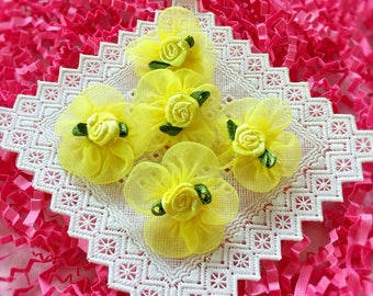 20 Yellow Ribbon Roses (1 inch),Organza Flowers,Mini Satin Roses,Yellow Fabric Flowers,Yellow Ribbon Roses,Craft Roses, Roses Applique