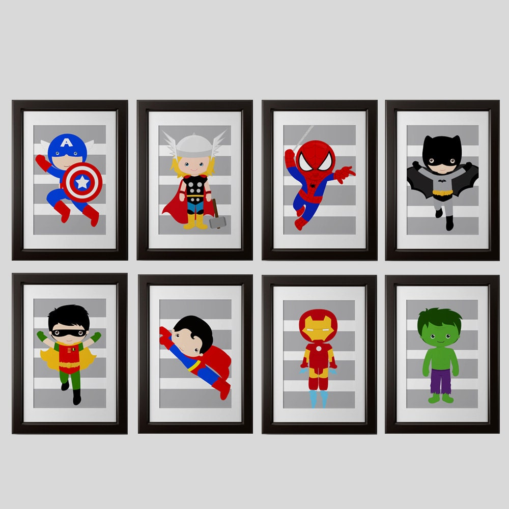 superhero wall prints shipped set 8 spiderman ironman. Black Bedroom Furniture Sets. Home Design Ideas