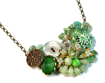 Repurposed Vintage, Assemblage Necklace, Light Green Necklace, Statement Necklace, Mint Wedding, Upcycled Jewelry,  Handmade Artisan