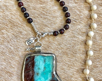 Boho Chic Red Jasper Agate Statement Necklace