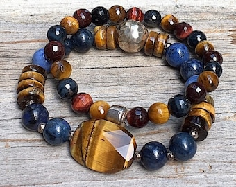 Golden Tigereye and Blue Dumortierite Boho Beaded Bracelet Combo  with Sterling Silver, Unisex Under Under 200